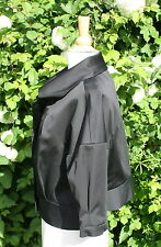 NEW - HOBBS COCKTAIL BLACK SATIN VINTAGE 50's STYLE CROPPED EVENING JACKET UK 16