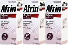 3 Bottle Afrin Nasal Spray Original Congestion Cold Allergies 12 Hour Relief 1oz