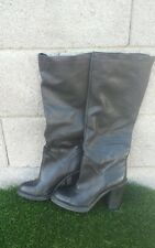 Women's Vera Wang Kenya Black Leather Knee High Tall Boots Size 8 or 38 Euro