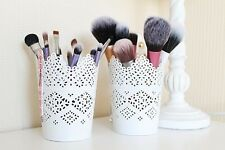 Set Of 2 - Make Up Brush Holder Pots / Candle Holders - White