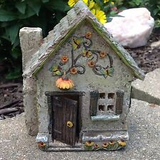 Miniature Fairy Garden Sunflower Farm Cottage House with hinged door