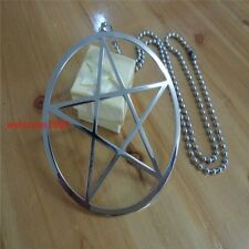 Large 100mm Stainless Steel pentagram symbol of Wicca, paganism Pendant Necklace