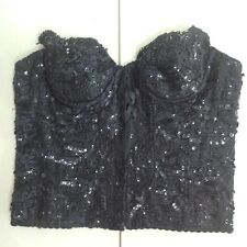 Hunza sequin and lace bustier Size M Black Beautiful Detail