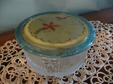 Vtg. Art Deco Clear Glass Vanity Powder Jar w Celluloid & Metal Lid