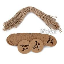100PCS thank you Round DIY Kraft Brown Bonbonniere Gift Paper Tags +  Free Twine