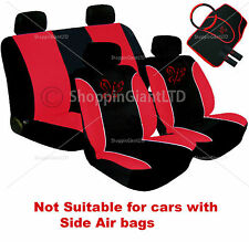 13PC RED BUTTERFLY STYLE EMBROIDERED FULL CAR SEAT COVER SET + FLOOR MATS