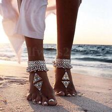 Chaine de Cheville Anklet Pied Perle Argent Plaqué Bracelet Sandale Plage Bijoux