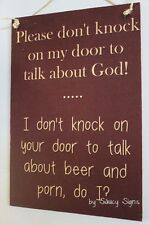 Naughty Door Knockers Beer Porn God Sign - welcome warning religion bar pub dvd