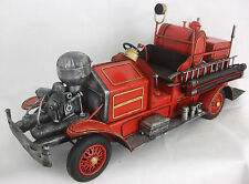 Large Metal Art Tin Red Firetruck Fire Engine Collectible Display Vehicle