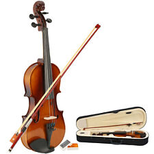 New 1/2 Size Natural Color Acoustic Violin Case Bow Rosin for Kid 9-10 years old