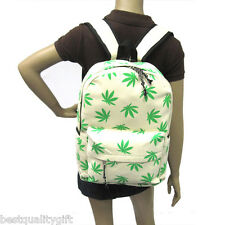 IVORY &GREEN WATER RESISTANT CANVAS WEED,CANNABIS LEAVES DRAWSTRING BACKPACK BAG