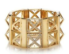 HENRI BENDEL HEX PYRAMID STRETCHED CUFF BRACELET IN GOLD NWT
