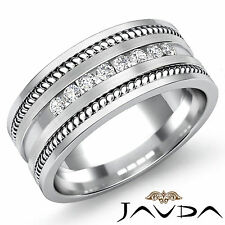 Channel Round Diamond Mens Half Wedding Band Excellent Platinum 950 Ring 0.35Ct