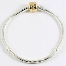 AUTHENTIC PANDORA 14K GOLD AND STERLING SILVER BRACELET 6.7 IN 17 CM