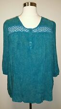 ONE WORLD PLUS SIZE TEAL W/ CROCHET LACE 3/4 SLEEVE PEASANT HI-LO TOP Sz 3X