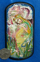RUSSIAN UNIQUE HAND PAINTED trinket LACQUER SHELL Box FOREST Flower FAIRY GIRL