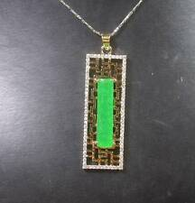 Gold Plate CHINESE Green JADE Pendant Rectangle Longevity Amulet Necklace 268291