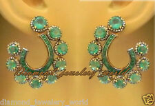 Victorian Vintage 2.93cts Rose Cut Diamond .925 Silver Emerald Earring Jewelry