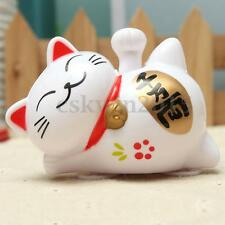 """4"""" Solar Power Fortune Lucky Cat Fengshui Waving Claw Welcoming Car Decor Gift"""