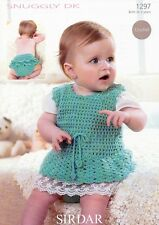 Sirdar double knitting crochet pattern pinafore dress + pants birth -2 years