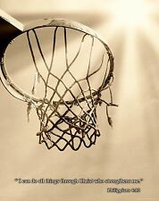 Religious Motivational Poster Art Print 11X14 Basketball Philippians 4:13 RELG07