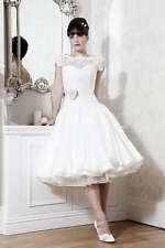 New Lace White/Ivory Wedding dress Bridal Gown Tea length Custom Size
