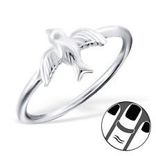 925 Sterling Silver Midi Ring Cute Swallow Bird US Size 3.5 Fine Body Jewellery