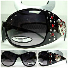 BLING WESTERN COWGIRL Black SUNGLASSES SILVER HEART CONCHO Clear & Red Crystals