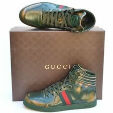 GUCCI New sz 11.5 G - US 12 Authentic Designer High Top Mens Web Shoes Sneakers