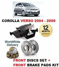 FOR TOYOTA COROLLA VERSO 1.6 1.8 2.0 2.2 DT 2004  FRONT BRAKE DISC SET + PAD SET