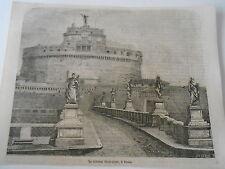 Gravure 1861 - Le Chateau de Saint Ange à Rome