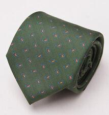 NWT $175 BARBUTI NAPOLI Leaf Green Paisley Print 7-Fold Silk Tie Necktie