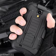 Samsung Galaxy S4 Hybrid Tank Armor Holster Case Cover w/ Kick Stand Black Combo