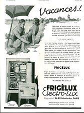 """Publicité Ancienne """" Réfrigérateur FRIGELUX Elextro-Lux  1933 ( P36 ) Theo Roger"""