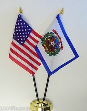 United States of America & West Virginia Double Friendship Table Flag Set
