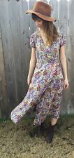 Sundance Catalog Silk Floral Short Sleeve Wrap Dress Size 4