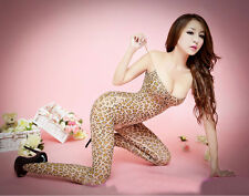 Sexy Open Crotch Crotchless Leopard print Bodystocking Lingerie fun 107