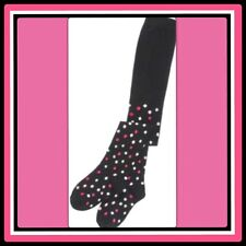 NWT 8-10 Gymboree GLAMOUR BALLERINA black cotton blend TIGHTS pink POLKA DOTS X