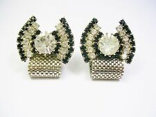VINTAGE CUFF LINKS MESH WRAP CUFFLINKS RHINESTONE MEN JEWELRY FORMAL WEAR
