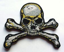 PIRATE SKULL & CROSS BONES - SEW OR IRON ON BIKER MOTORCYCLE PATCH 80mm x 80mm