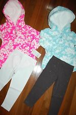Girls 12m 12 MONTHS CARTER'S Lot of 2 Hooded Floral Fleece Sets CUTE ~ L@@K!