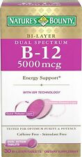 Natures Bounty Vitamin B-12 5000 mcg Dual Spectrum Bi-Layer Tablets 30 Count