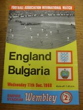 11/12/1968 England v Bulgaria [At Wembley] . Item appears to be in good conditio