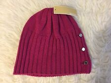 NWT MICHAEL KORS JERSEY KNIT SHALLOW BEANIE HAT WITH LOGO BUTTONS~ONE SIZE~$48!