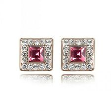 GORGEOUS 18K GOLD PLATED PINK AND CLEAR GENUINE SWAROVSKI CRYSTAL STUD EARRINGS