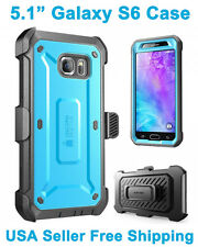 Genuine SUPCASE Galaxy S6 Full Body Rugged Holster Case & Screen Protector Blue