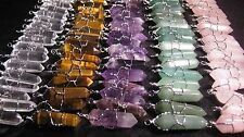 10 Pendants LOT Crystal Point Silver Wire Wrap Wrapped Charms U-Pick WHOLESALE 1