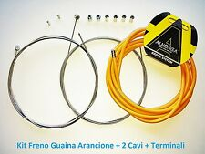 Kit Freno Guaina Arancio + 2 Cavi + Terminali per bici 27,5-29 MTB Mountain Bike