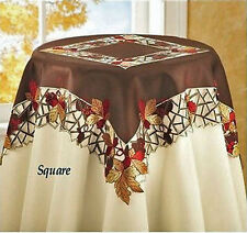Thanksgving & Fall Decor Tablecloth Runner Lacy Brown Autumn Leaves & Berries