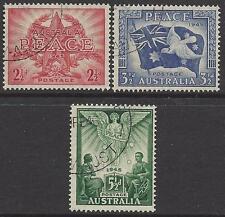 """Australia 1946 """"PEACE 1945"""" set (3) Very Fine Used (CTO) ACSCV $30 SG 213-5"""